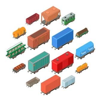 Conjunto de iconos de carro de ferrocarril, estilo isométrico
