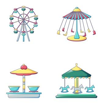 Conjunto de iconos de carrusel, estilo de dibujos animados
