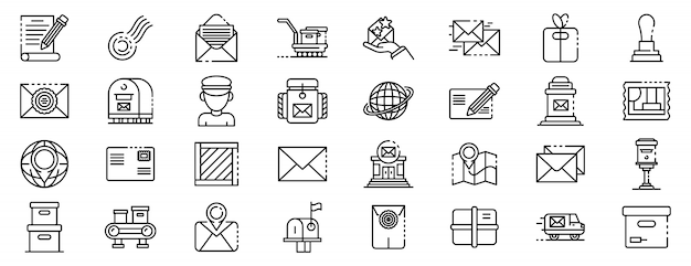 Conjunto de iconos de cartero, estilo de contorno
