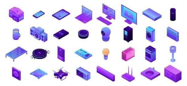 Conjunto de iconos de casa inteligente, estilo isométrico