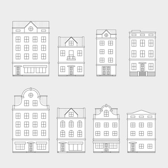Conjunto de iconos de casa sobre fondo gris, línea delgada