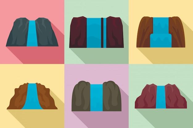 Conjunto de iconos de cascada, estilo plano