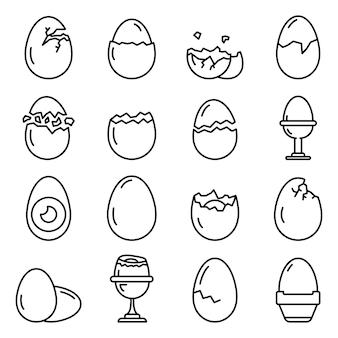 Conjunto de iconos de cáscara de huevo, estilo de contorno