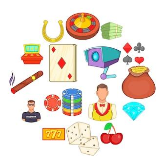 Conjunto de iconos de casino, estilo de dibujos animados
