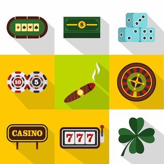 Conjunto de iconos de casino, estilo plano