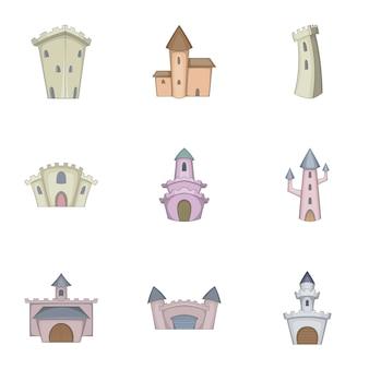 Conjunto de iconos de castillo medieval, estilo de dibujos animados