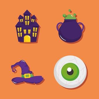 Conjunto de iconos de castillo de terror y feliz halloween sobre fondo naranja