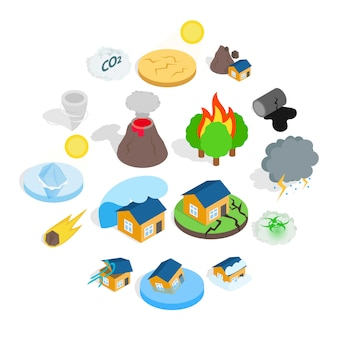 Conjunto de iconos de catástrofe de desastre natural