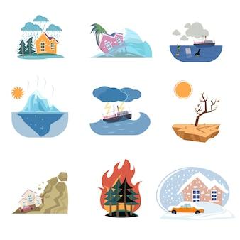 Conjunto de iconos de catástrofe y desastres naturales al aire libre sobre fondo blanco.