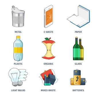 Conjunto de iconos de categorías de basura. batería y bombilla, categoría de colección, energía y papel