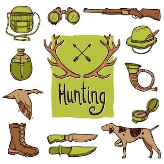 Conjunto de iconos de caza