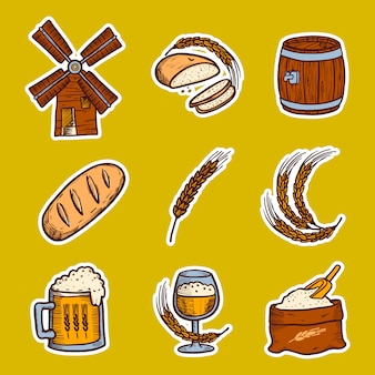 Conjunto de iconos de cebada