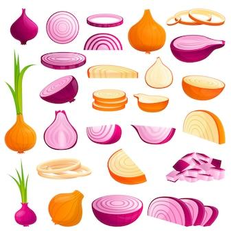 Conjunto de iconos de cebolla, estilo de dibujos animados