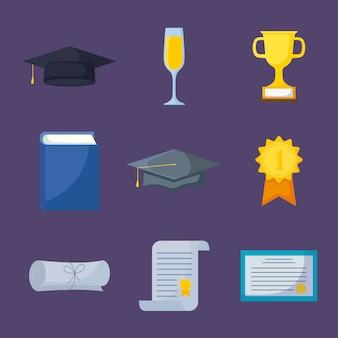 Conjunto de iconos de celebración de graduación