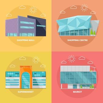 Conjunto de iconos de centro comercial en diseño plano