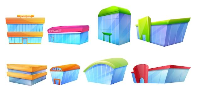 Conjunto de iconos de centro comercial, estilo de dibujos animados