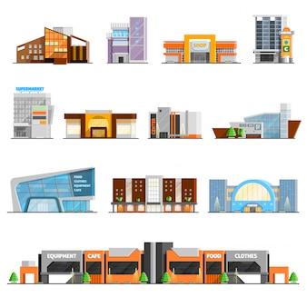 Conjunto de iconos de centro comercial