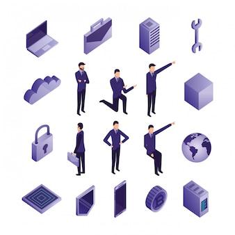 Conjunto de iconos de centro de datos y gente de negocios
