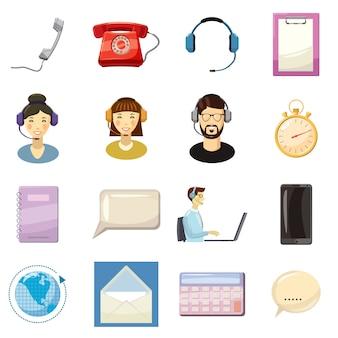 Conjunto de iconos de centro de llamada, estilo de dibujos animados
