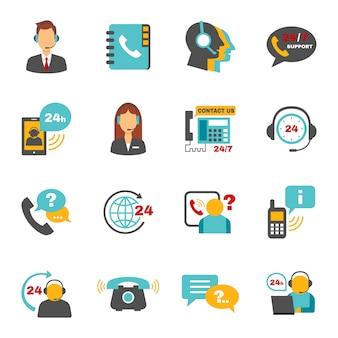 Conjunto de iconos de centro de llamadas de contacto de apoyo