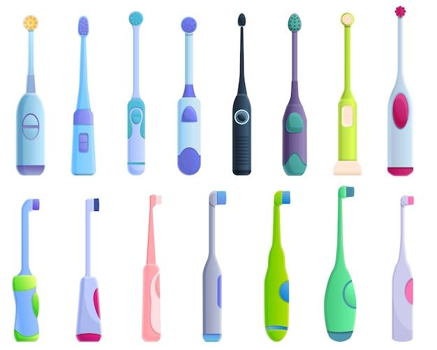 Conjunto de iconos de cepillo de dientes eléctrico, estilo de dibujos animados