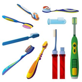 Conjunto de iconos de cepillo de dientes