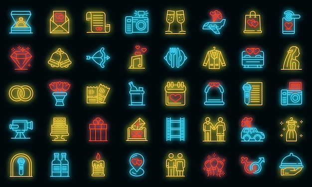 Conjunto de iconos de ceremonia de boda. esquema conjunto de iconos de vector de ceremonia de boda color neón en negro