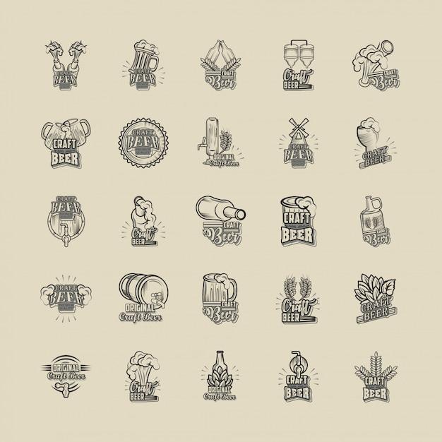Conjunto de iconos cerveza artesanal