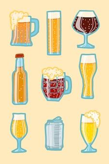 Conjunto de iconos de cerveza artesanal