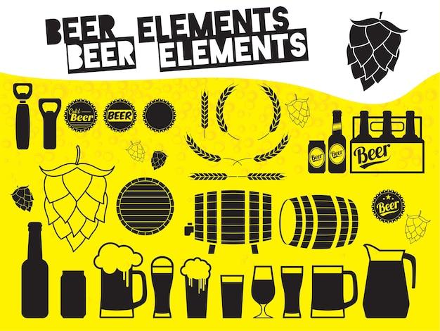 Conjunto de iconos de cerveza blanco y negro