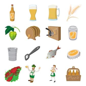 Conjunto de iconos de cerveza. conjunto de dibujos animados de iconos de cerveza para web