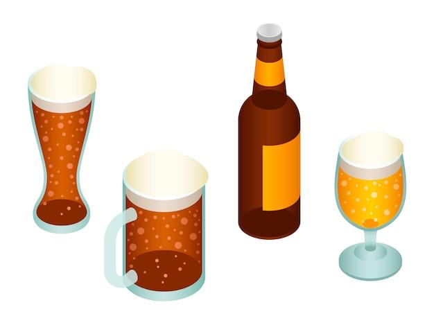 Conjunto de iconos de cerveza. conjunto isométrico de cerveza