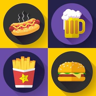 Conjunto de iconos de cerveza y menú de comida rápida. estilo de diseño plano.