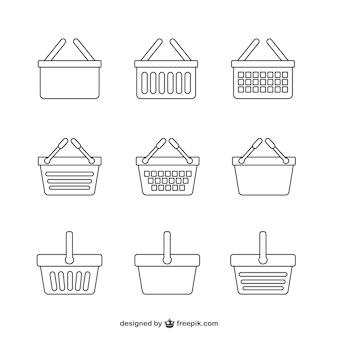 Conjunto de iconos de cesta de la compra