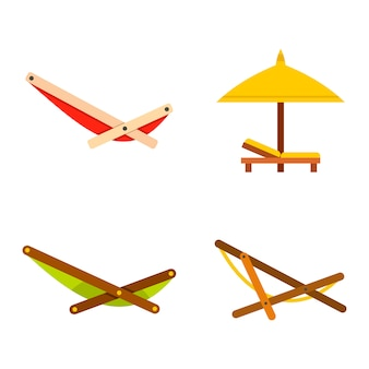 Conjunto de iconos de chaise. conjunto plano de colección de iconos de vector de chaise aislado