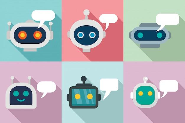 Conjunto de iconos de chatbot, estilo plano