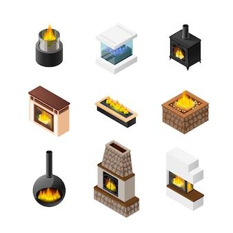 Conjunto de iconos de chimenea isométrica