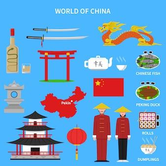 Conjunto de iconos de china