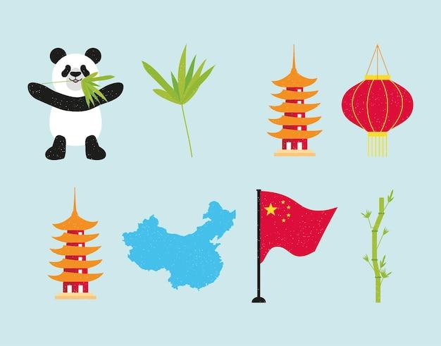 Conjunto de iconos chinos