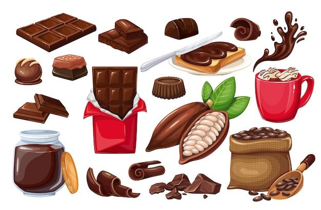 Conjunto de iconos de chocolate. caramelos, granos de cacao, patatas fritas, barra de chocolate