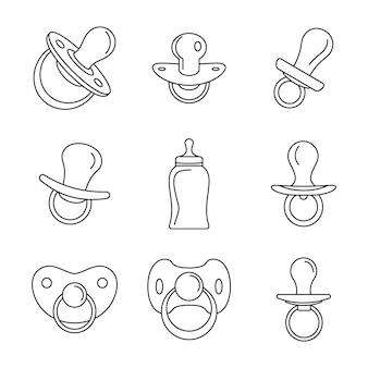 Conjunto de iconos de chupete bebé cuidado infantil