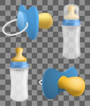 Conjunto de iconos de chupete, estilo realista