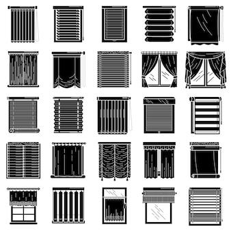 Conjunto de iconos ciegos, estilo simple