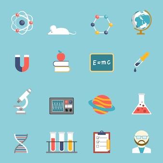 Conjunto de iconos de ciencia e investigación