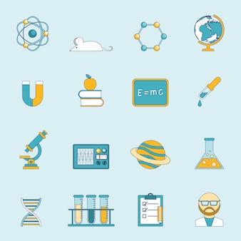 Conjunto de iconos de ciencia y estudio