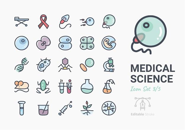 Conjunto de iconos de la ciencia médica
