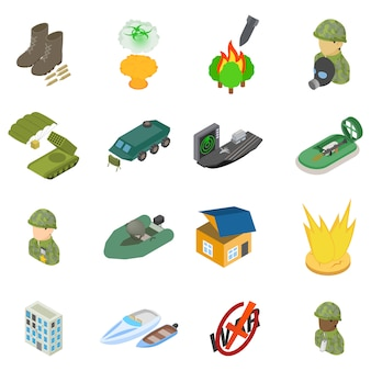 Conjunto de iconos de la ciencia militar
