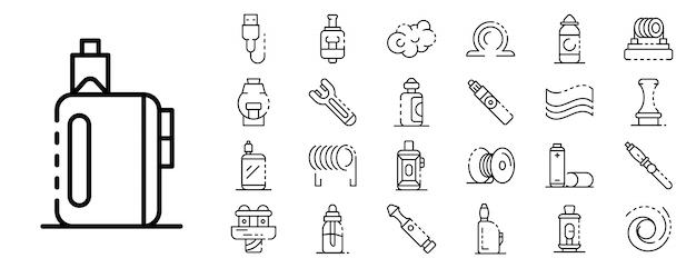 Conjunto de iconos de cigarrillo electrónico, estilo de contorno