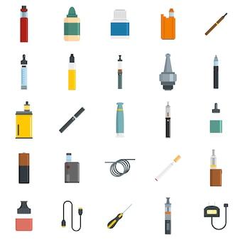 Conjunto de iconos de cigarrillo electrónico mod cig