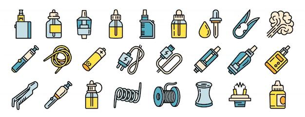 Conjunto de iconos de cigarrillos electrónicos, estilo de contorno